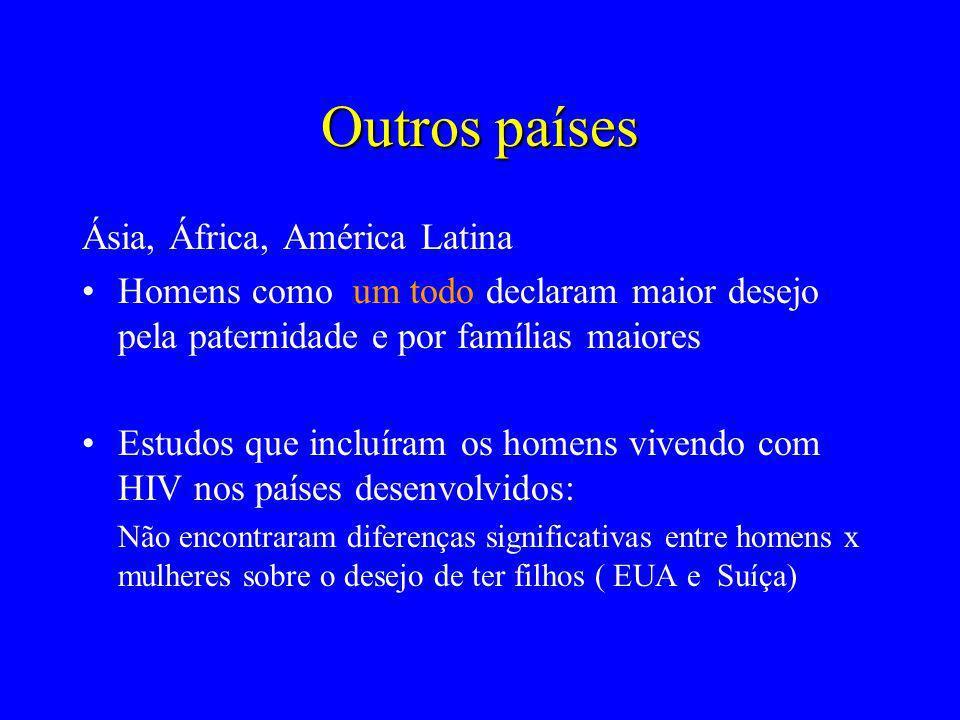 Outros países Ásia, África, América Latina Homens como um todo declaram maior desejo pela paternidade e por famílias maiores Estudos que incluíram os