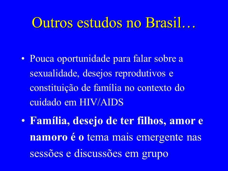 Outros estudos no Brasil… Pouca oportunidade para falar sobre a sexualidade, desejos reprodutivos e constituição de família no contexto do cuidado em