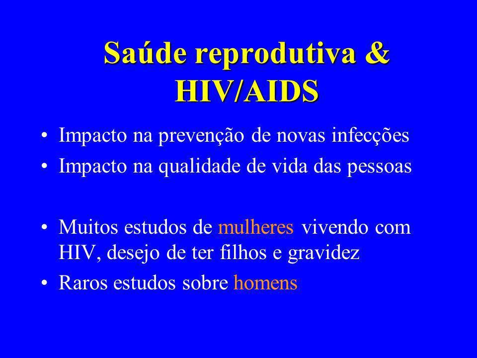 Saúde reprodutiva & HIV/AIDS Impacto na prevenção de novas infecções Impacto na qualidade de vida das pessoas Muitos estudos de mulheres vivendo com H