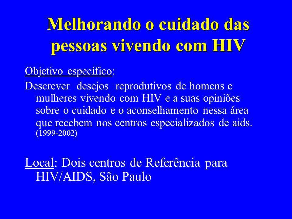 Melhorando o cuidado das pessoas vivendo com HIV Objetivo específico: Descrever desejos reprodutivos de homens e mulheres vivendo com HIV e a suas opi