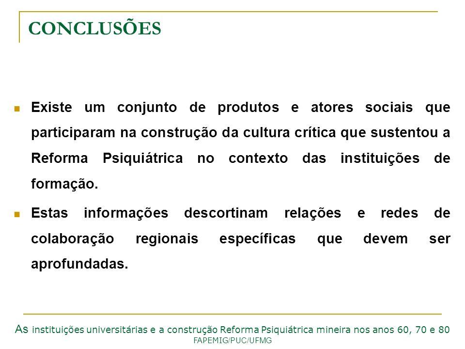 CONCLUSÕES Existe um conjunto de produtos e atores sociais que participaram na construção da cultura crítica que sustentou a Reforma Psiquiátrica no c