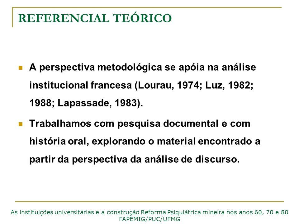 REFERENCIAL TEÓRICO A perspectiva metodológica se apóia na análise institucional francesa (Lourau, 1974; Luz, 1982; 1988; Lapassade, 1983). Trabalhamo