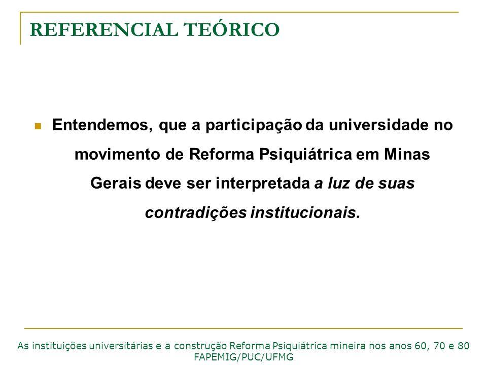 REFERENCIAL TEÓRICO Entendemos, que a participação da universidade no movimento de Reforma Psiquiátrica em Minas Gerais deve ser interpretada a luz de