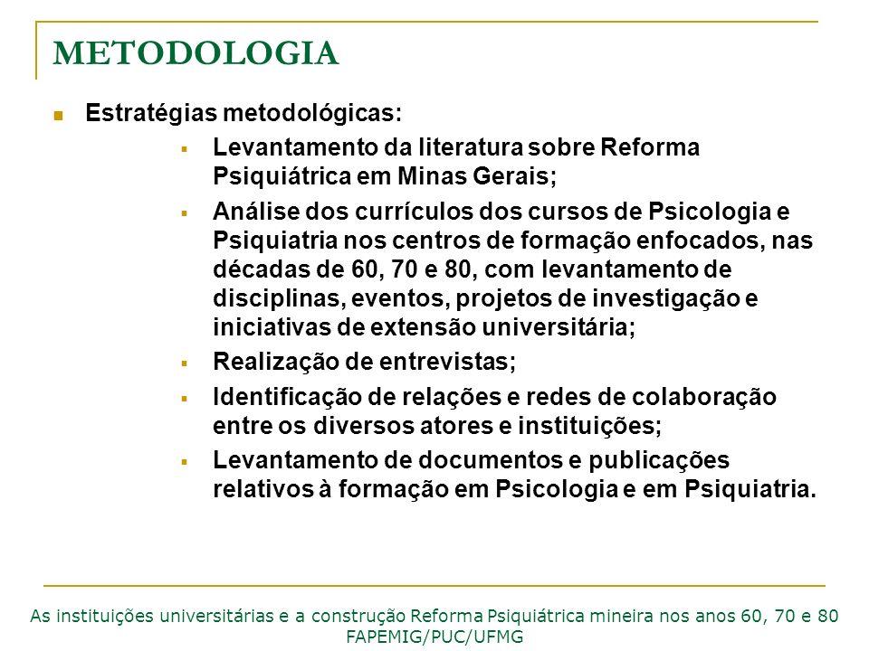METODOLOGIA Estratégias metodológicas: Levantamento da literatura sobre Reforma Psiquiátrica em Minas Gerais; Análise dos currículos dos cursos de Psi