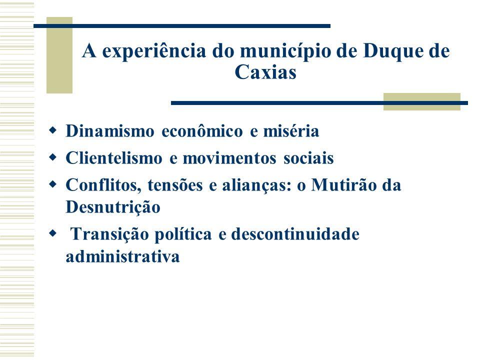 A experiência do município de Duque de Caxias Dinamismo econômico e miséria Clientelismo e movimentos sociais Conflitos, tensões e alianças: o Mutirão