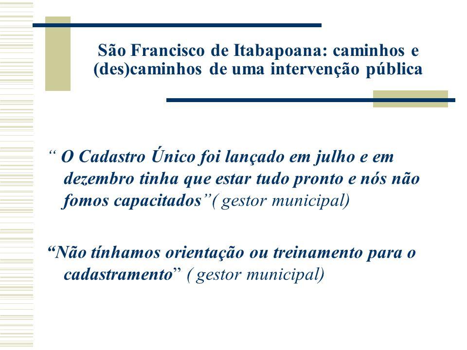 São Francisco de Itabapoana: caminhos e (des)caminhos de uma intervenção pública O Cadastro Único foi lançado em julho e em dezembro tinha que estar t