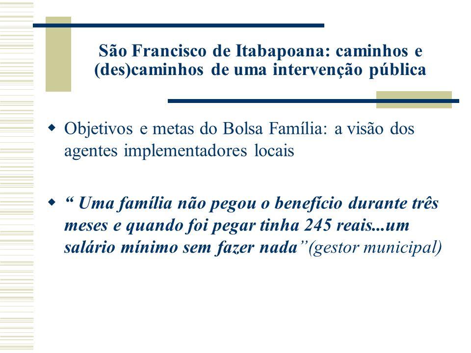 São Francisco de Itabapoana: caminhos e (des)caminhos de uma intervenção pública Objetivos e metas do Bolsa Família: a visão dos agentes implementador