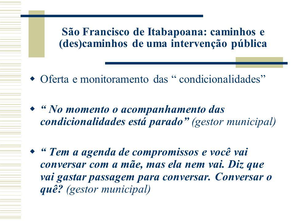 São Francisco de Itabapoana: caminhos e (des)caminhos de uma intervenção pública Oferta e monitoramento das condicionalidades No momento o acompanhame