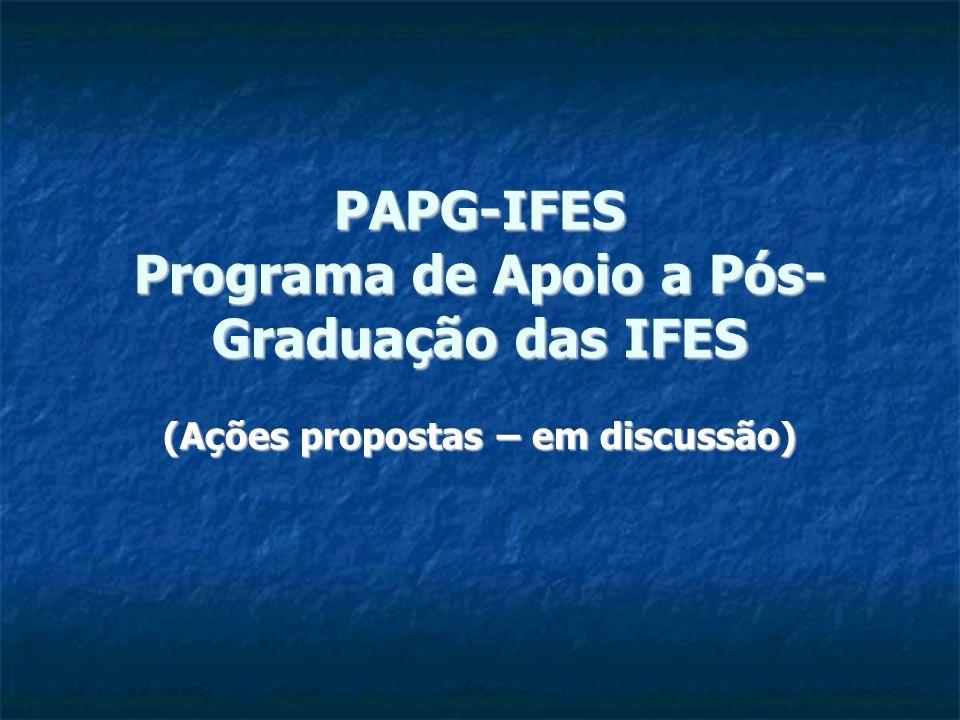 PAPG-IFES Programa de Apoio a Pós- Graduação das IFES (Ações propostas – em discussão)