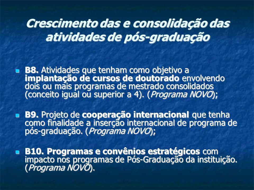 Crescimento das e consolidação das atividades de pós-graduação B8.