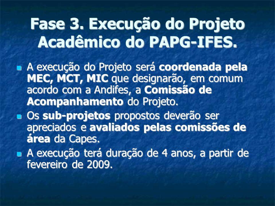 Fase 3. Execução do Projeto Acadêmico do PAPG-IFES.