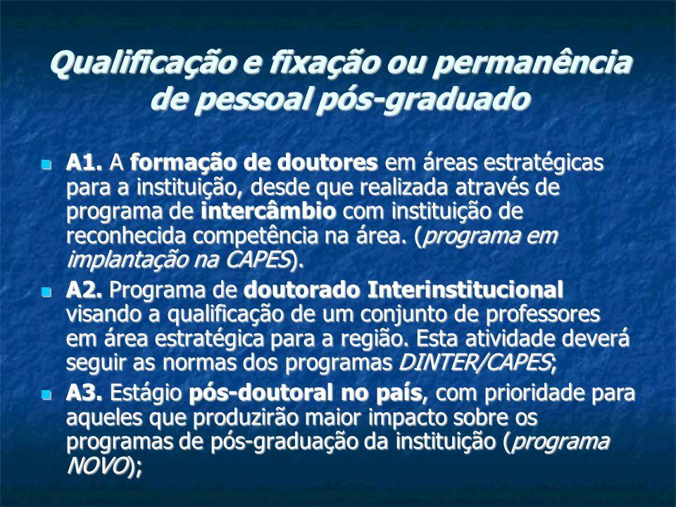 Qualificação e fixação ou permanência de pessoal pós-graduado A1.