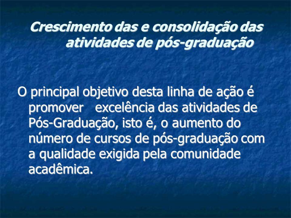 Crescimento das e consolidação das atividades de pós-graduação O principal objetivo desta linha de ação é promover excelência das atividades de Pós-Graduação, isto é, o aumento do número de cursos de pós-graduação com a qualidade exigida pela comunidade acadêmica.