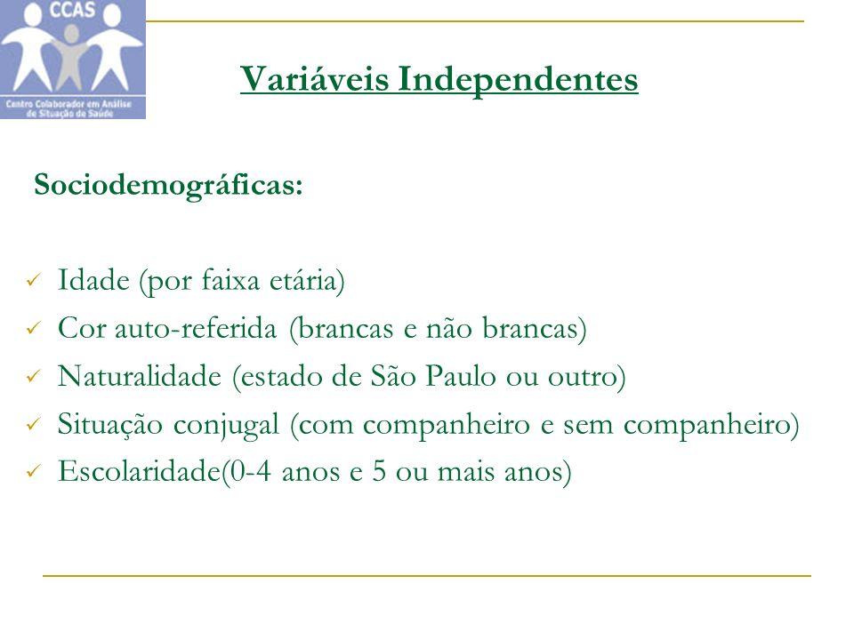 Variáveis Independentes Sociodemográficas: Idade (por faixa etária) Cor auto-referida (brancas e não brancas) Naturalidade (estado de São Paulo ou out