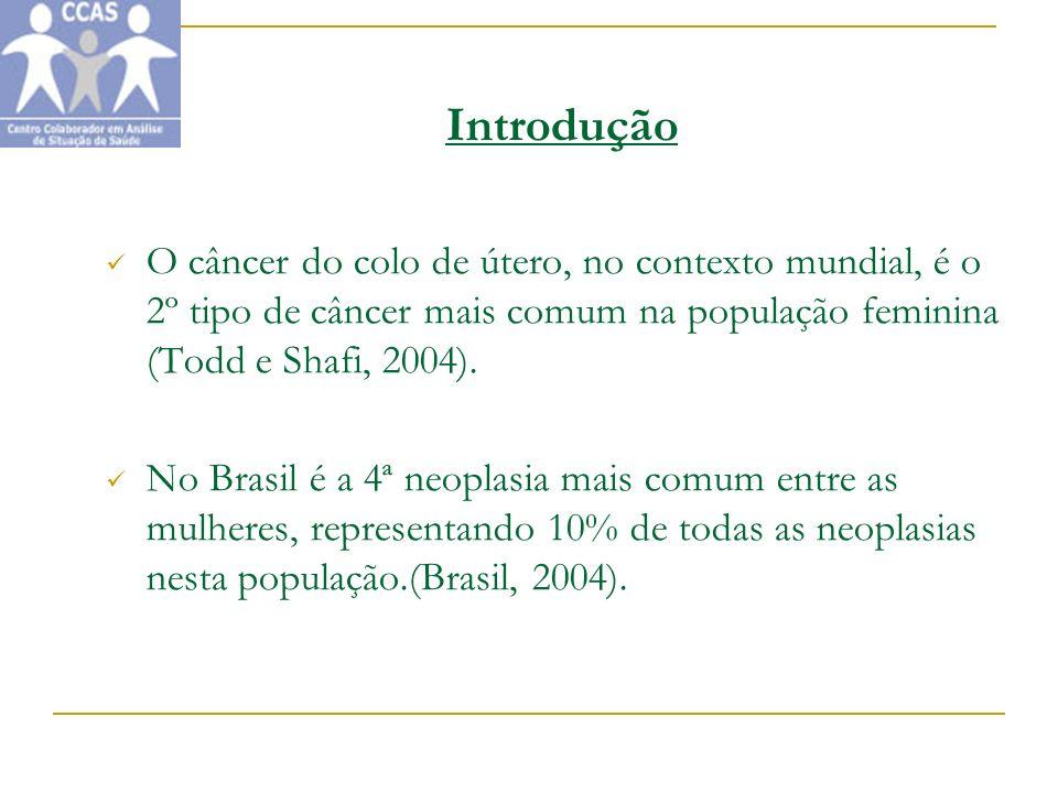 Introdução O câncer do colo de útero, no contexto mundial, é o 2º tipo de câncer mais comum na população feminina (Todd e Shafi, 2004). No Brasil é a