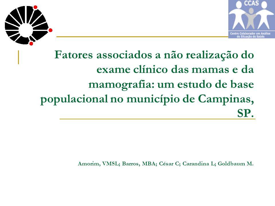 Fatores associados a não realização do exame clínico das mamas e da mamografia: um estudo de base populacional no município de Campinas, SP. Amorim, V
