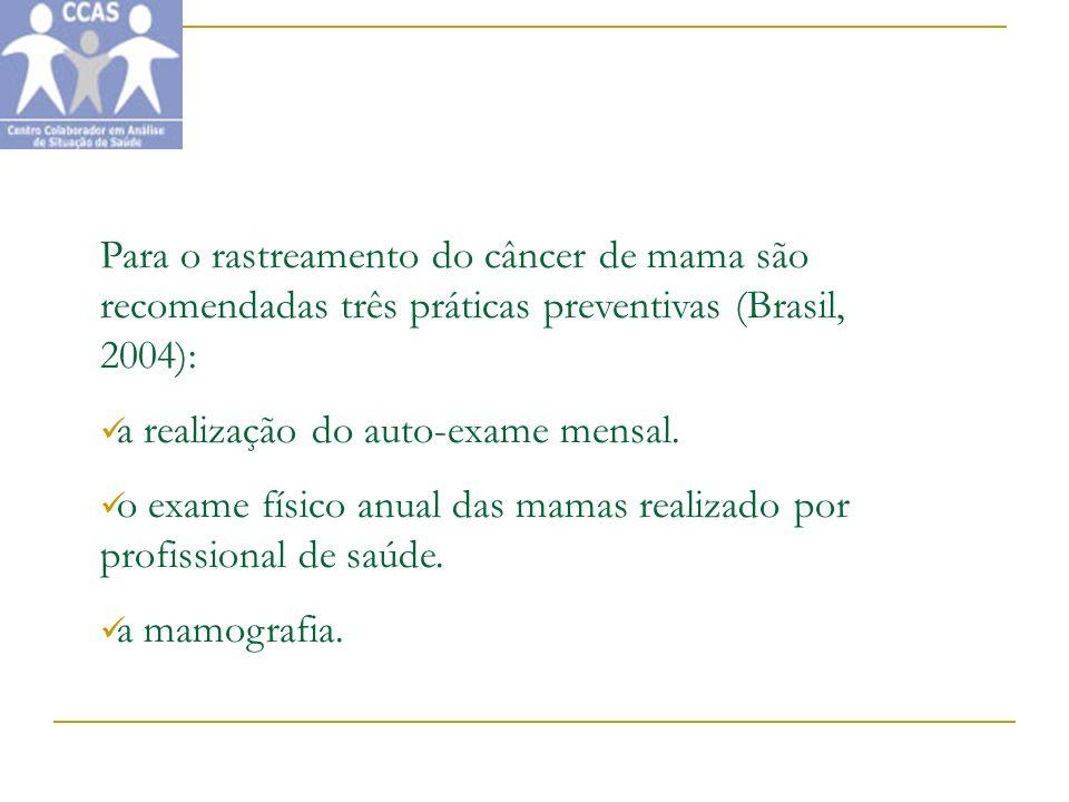 Para o rastreamento do câncer de mama são recomendadas três práticas preventivas (Brasil, 2004): a realização do auto-exame mensal. o exame físico anu