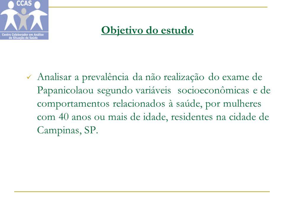 Tabela 3 - Prevalência da não realização da mamografia segundo variáveis sócio- econômicas e demográficas em mulheres de 40 anos ou mais, Campinas,São Paulo, Brasil, 2001-2002.