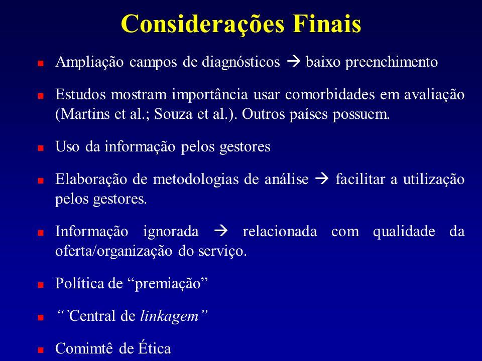 Considerações Finais Ampliação campos de diagnósticos baixo preenchimento Estudos mostram importância usar comorbidades em avaliação (Martins et al.;