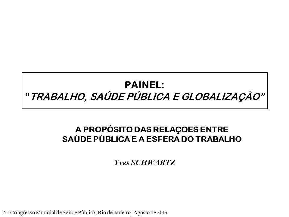 XI Congresso Mundial de Saùde Pùblica, Rio de Janeiro, Agosto de 2006 PAINEL:TRABALHO, SAÚDE PÚBLICA E GLOBALIZAÇÃO A PROPÓSITO DAS RELAÇOES ENTRE SAÚDE PÚBLICA E A ESFERA DO TRABALHO Yves SCHWARTZ