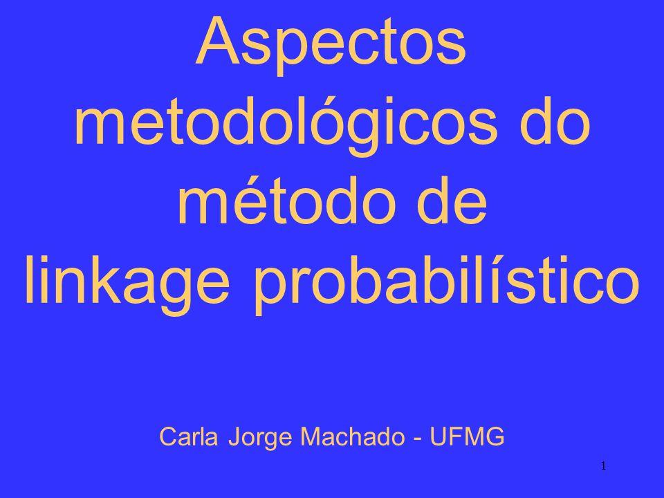 1 Aspectos metodológicos do método de linkage probabilístico Carla Jorge Machado - UFMG