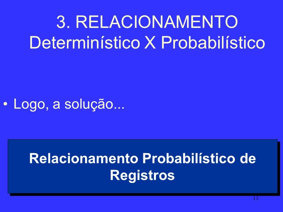 13 3. RELACIONAMENTO Determinístico X Probabilístico Logo, a solução... Relacionamento Probabilístico de Registros