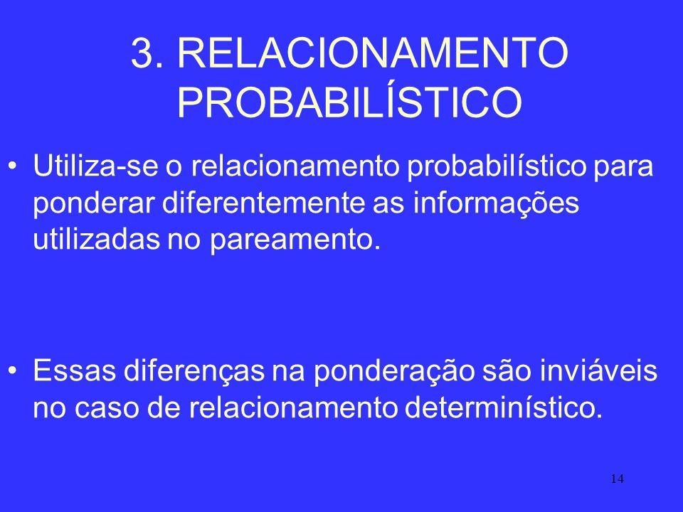 14 3. RELACIONAMENTO PROBABILÍSTICO Utiliza-se o relacionamento probabilístico para ponderar diferentemente as informações utilizadas no pareamento. E