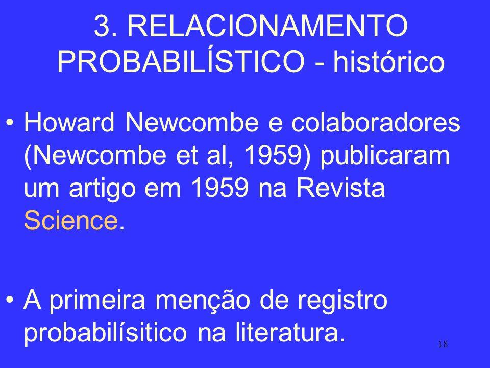 18 3. RELACIONAMENTO PROBABILÍSTICO - histórico Howard Newcombe e colaboradores (Newcombe et al, 1959) publicaram um artigo em 1959 na Revista Science