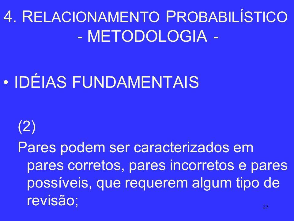 23 4. R ELACIONAMENTO P ROBABILÍSTICO - METODOLOGIA - IDÉIAS FUNDAMENTAIS (2) Pares podem ser caracterizados em pares corretos, pares incorretos e par