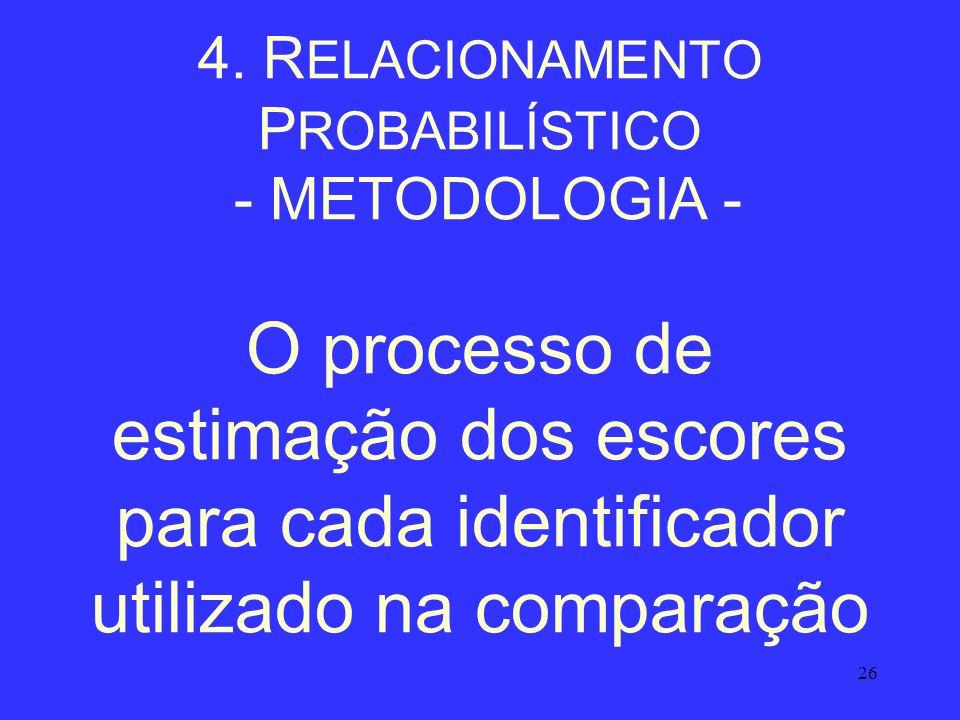26 4. R ELACIONAMENTO P ROBABILÍSTICO - METODOLOGIA - O processo de estimação dos escores para cada identificador utilizado na comparação