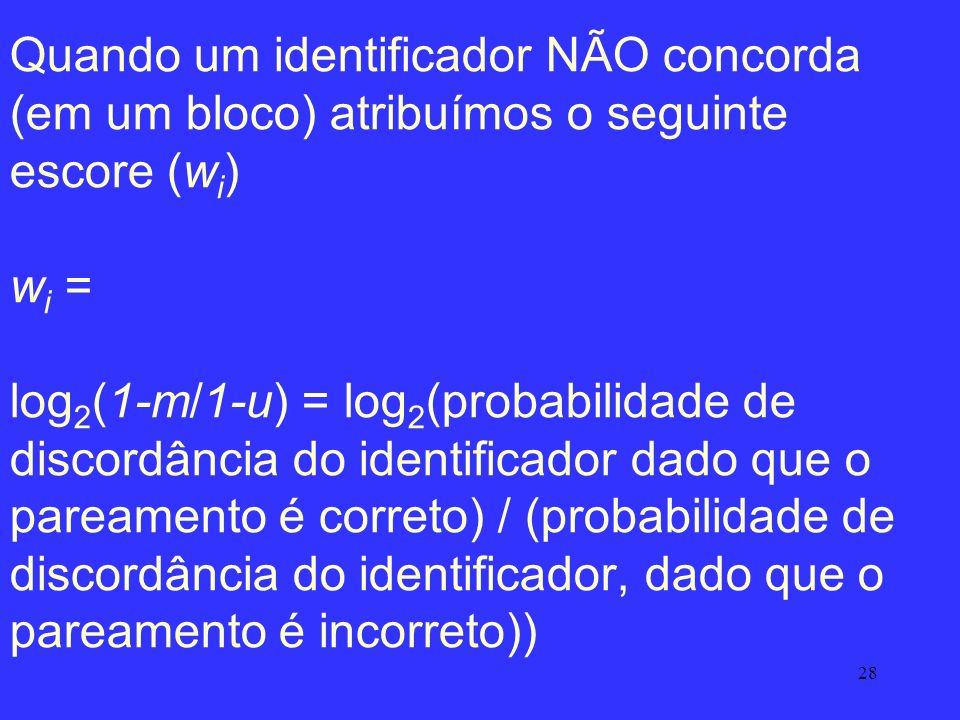 28 Quando um identificador NÃO concorda (em um bloco) atribuímos o seguinte escore (w i ) w i = log 2 (1-m/1-u) = log 2 (probabilidade de discordância
