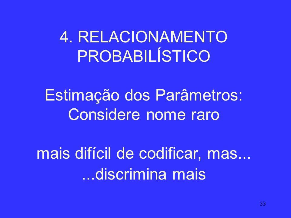 33 4. RELACIONAMENTO PROBABILÍSTICO Estimação dos Parâmetros: Considere nome raro mais difícil de codificar, mas......discrimina mais
