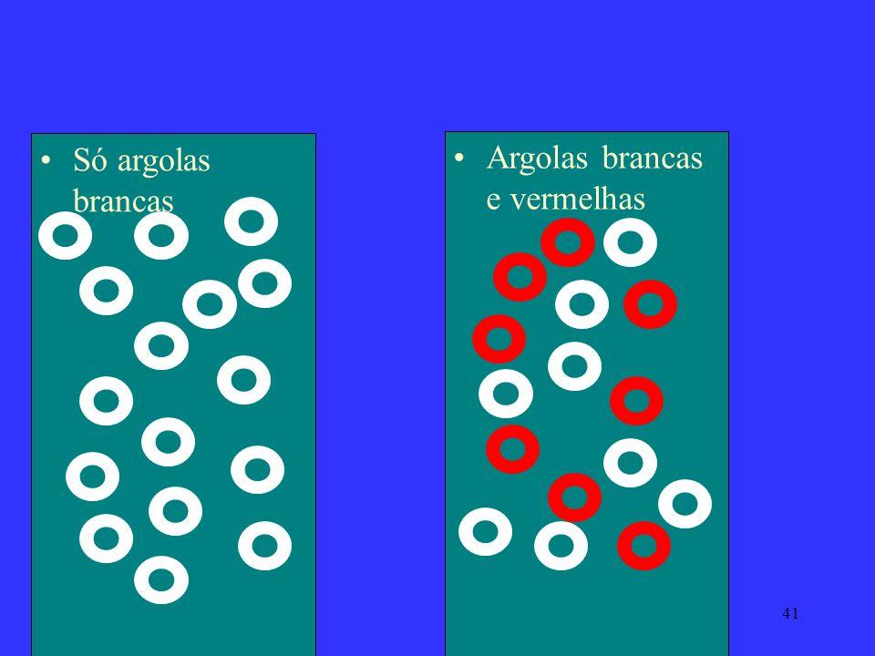 41 Só argolas brancas Argolas brancas e vermelhas