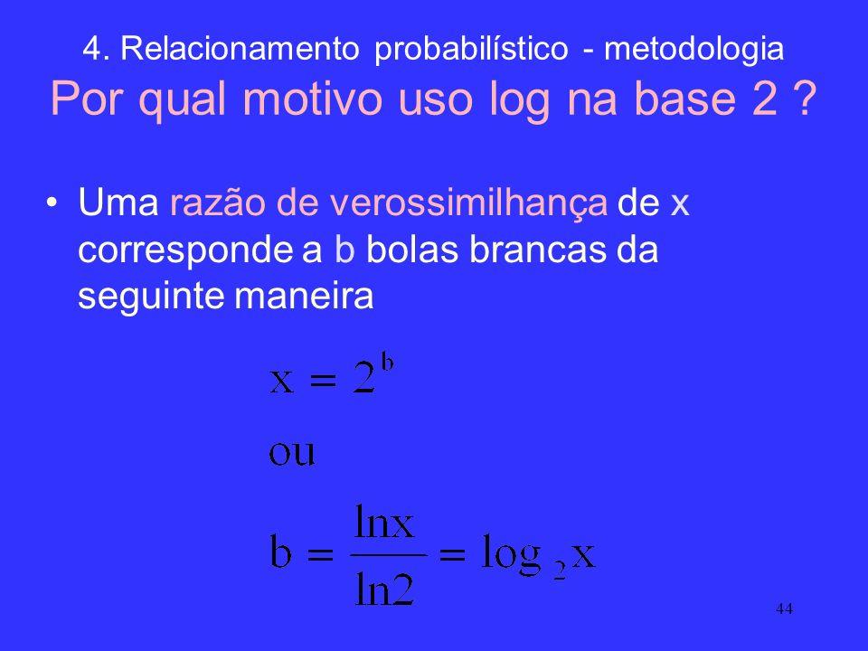44 4. Relacionamento probabilístico - metodologia Por qual motivo uso log na base 2 ? Uma razão de verossimilhança de x corresponde a b bolas brancas