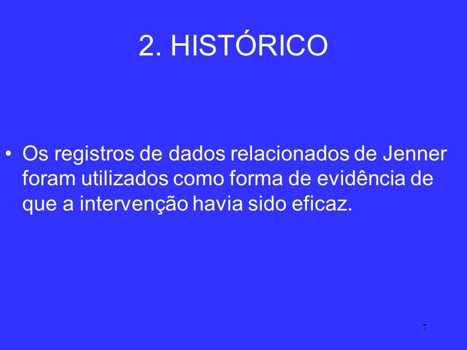 7 2. HISTÓRICO Os registros de dados relacionados de Jenner foram utilizados como forma de evidência de que a intervenção havia sido eficaz.