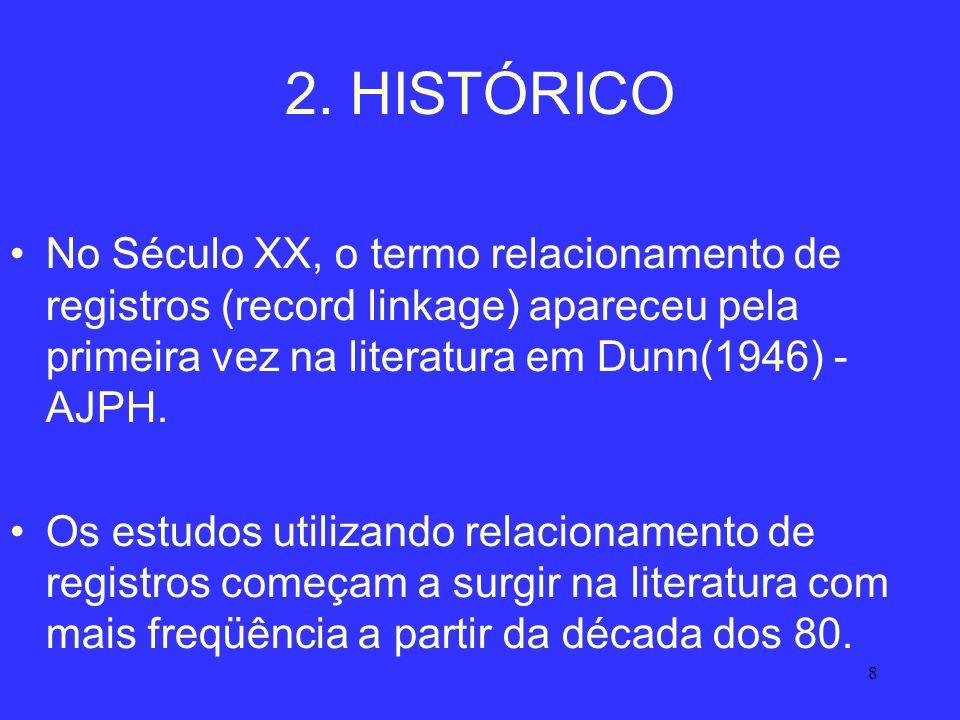 8 2. HISTÓRICO No Século XX, o termo relacionamento de registros (record linkage) apareceu pela primeira vez na literatura em Dunn(1946) - AJPH. Os es
