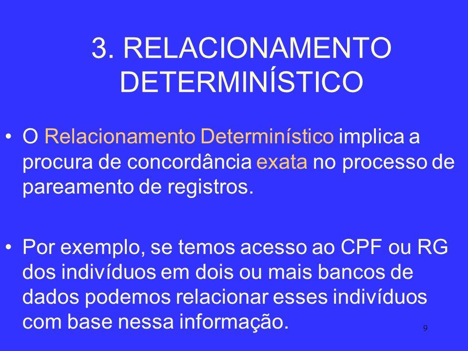 9 3. RELACIONAMENTO DETERMINÍSTICO O Relacionamento Determinístico implica a procura de concordância exata no processo de pareamento de registros. Por