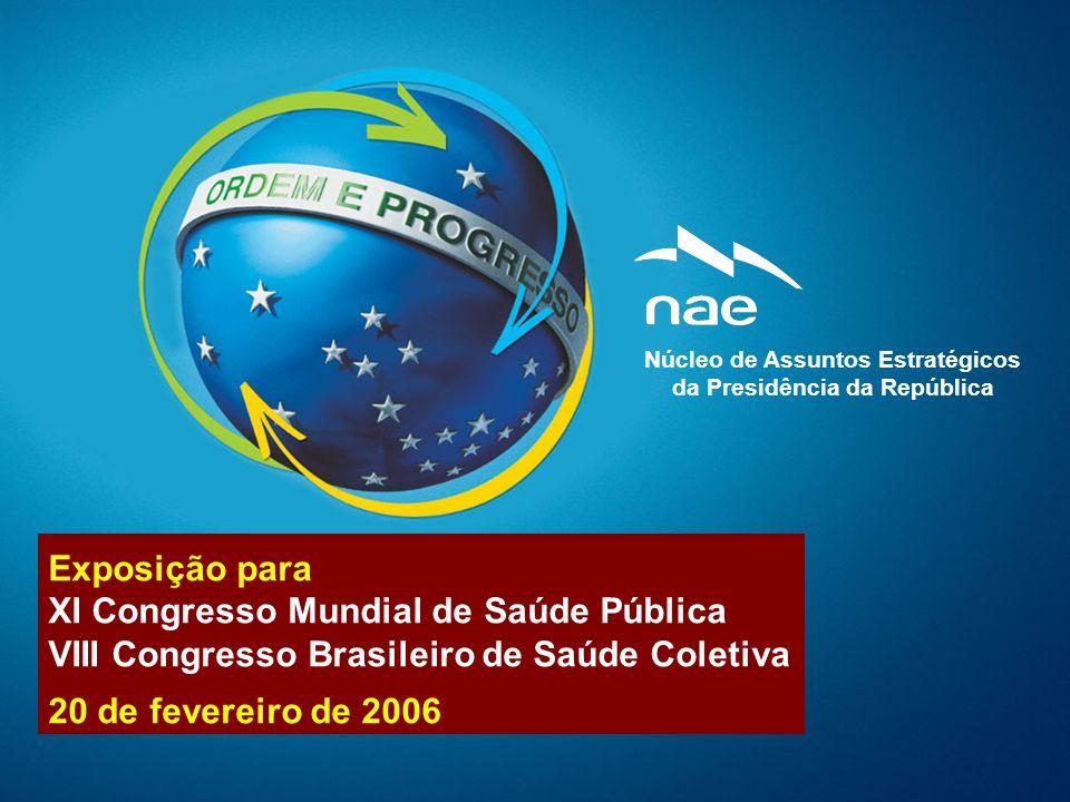 Núcleo de Assuntos Estratégicos De se ja bi li da de 26 Desigualdades regionais1,65 27 Matriz brasileira de combustíveis1,64 28 Ensino superior1,64 29 Sistema político-partidário1,63 30 Inclusão digital1,58 31 Recursos do mar1,55 32 Tecnologias de Info e Com (TICs)1,55 33 Programas Tec em áreas sensíveis1,52 34 Nanotecnologia1,49 35 Mercosul e União Européia (UE)1,44 36 Diversidade cultural brasileira1,44 37 Brasil, Rússia, Índia e China1,43 38 Protocolo de Quioto1,43 39 Sistema de Defesa Nacional1,39 40 Bloco Pol-Eco do Mercosul1,35 41 Relações trabalhistas1,31 42 Bloco Pol-Eco da América do Sul1,31 43 Organização das Nações Unidas (ONU)1,22 44 Entes federados1,22 45 Cons de Seg das Naç Unidas (CSNU)1,10 46 Ordenamento do território brasileiro0,91 47 Bloco Pol-Eco no continente americano0,87 48 Ordenamento mundial emergente0,84 49 Ações afirmativas de inclusão social0,55 50 Uso e conservação da água doce-0,74 1 Qualidade do ensino1,90 2 Educação básica1,89 3 Violência e criminalidade1,87 4 Desigualdade social1,83 5 Nível de emprego1,81 6 Sistema Único de Saúde (SUS)1,80 7 Investimentos em C T & I1,79 8 Taxa de investimento1,78 9 Infra-estrutura1,78 10 Sistema judiciário1,78 11 Estrutura tributária1,76 12 Controle da inflação1,76 13 Exportações brasileiras1,75 14 Carga tributária1,74 15 Despesas Correntes1,73 16 Contas públicas1,72 17 Biotecnologia 1,71 18 Biodiversidade 1,71 19 Agricultura e pecuária1,70 20 Qualidade da vida urbana1,69 21 Amazônia 1,69 22 Sistema previdenciário1,69 23 Perfil etário da população1,68 24 Normalidade constitucional1,67 25 Sistema Indus, Tec e de Com Ex1,66