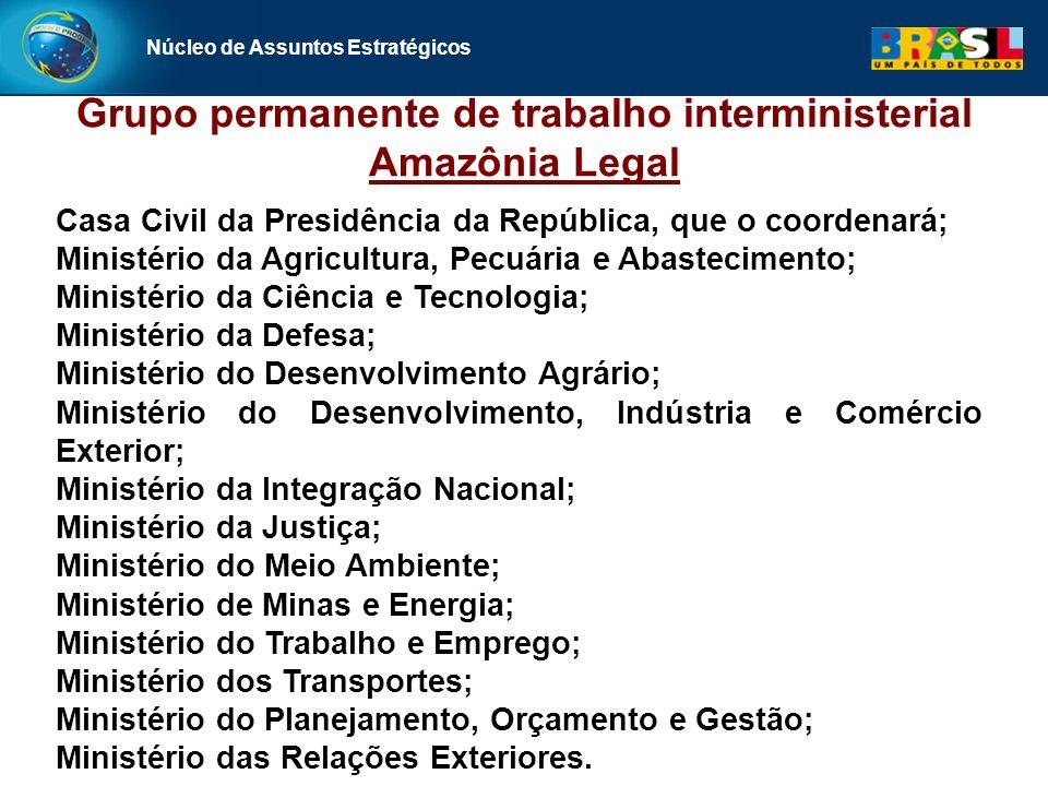 Núcleo de Assuntos Estratégicos Casa Civil da Presidência da República, que o coordenará; Ministério da Agricultura, Pecuária e Abastecimento; Ministé