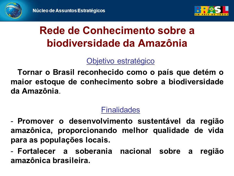 Núcleo de Assuntos Estratégicos Rede de Conhecimento sobre a biodiversidade da Amazônia Objetivo estratégico Tornar o Brasil reconhecido como o país que detém o maior estoque de conhecimento sobre a biodiversidade da Amazônia.