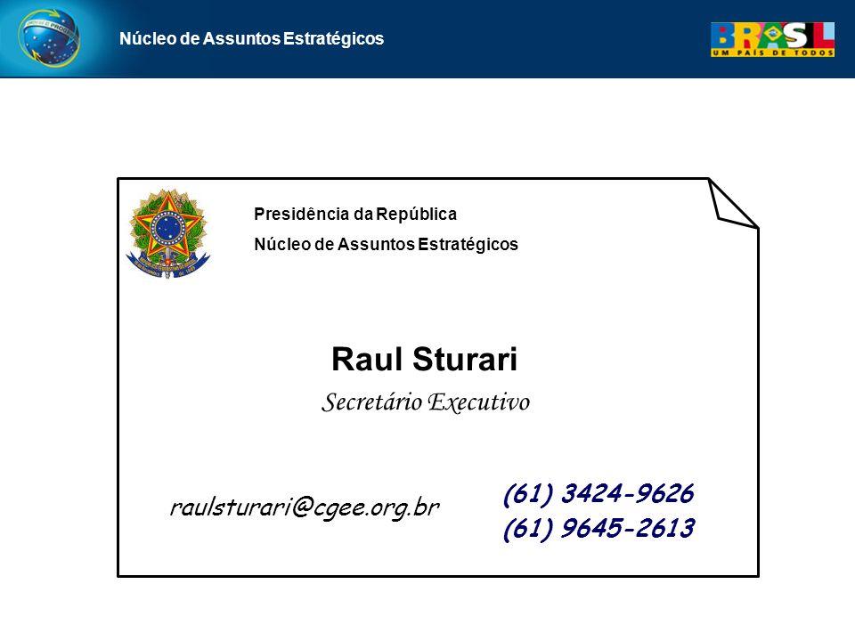 Núcleo de Assuntos Estratégicos (61) 3424-9626 (61) 9645-2613 Raul Sturari Secretário Executivo raulsturari@cgee.org.br Presidência da República Núcle
