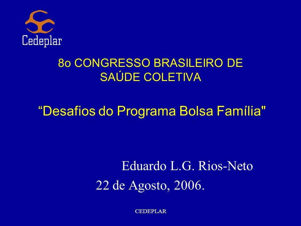 CEDEPLAR 8o CONGRESSO BRASILEIRO DE SAÚDE COLETIVA Desafios do Programa Bolsa Família