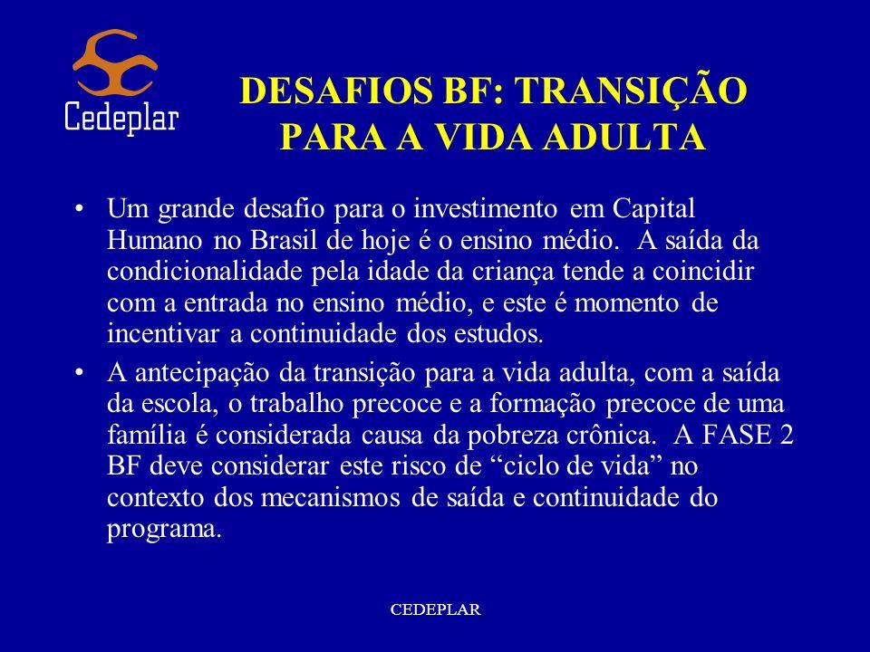 CEDEPLAR DESAFIOS BF: TRANSIÇÃO PARA A VIDA ADULTA Um grande desafio para o investimento em Capital Humano no Brasil de hoje é o ensino médio. A saída