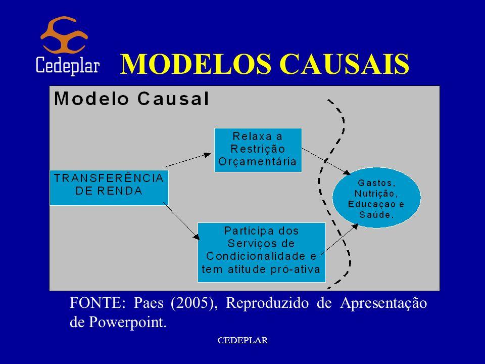 CEDEPLAR MODELOS CAUSAIS FONTE: Paes (2005), Reproduzido de Apresentação de Powerpoint.