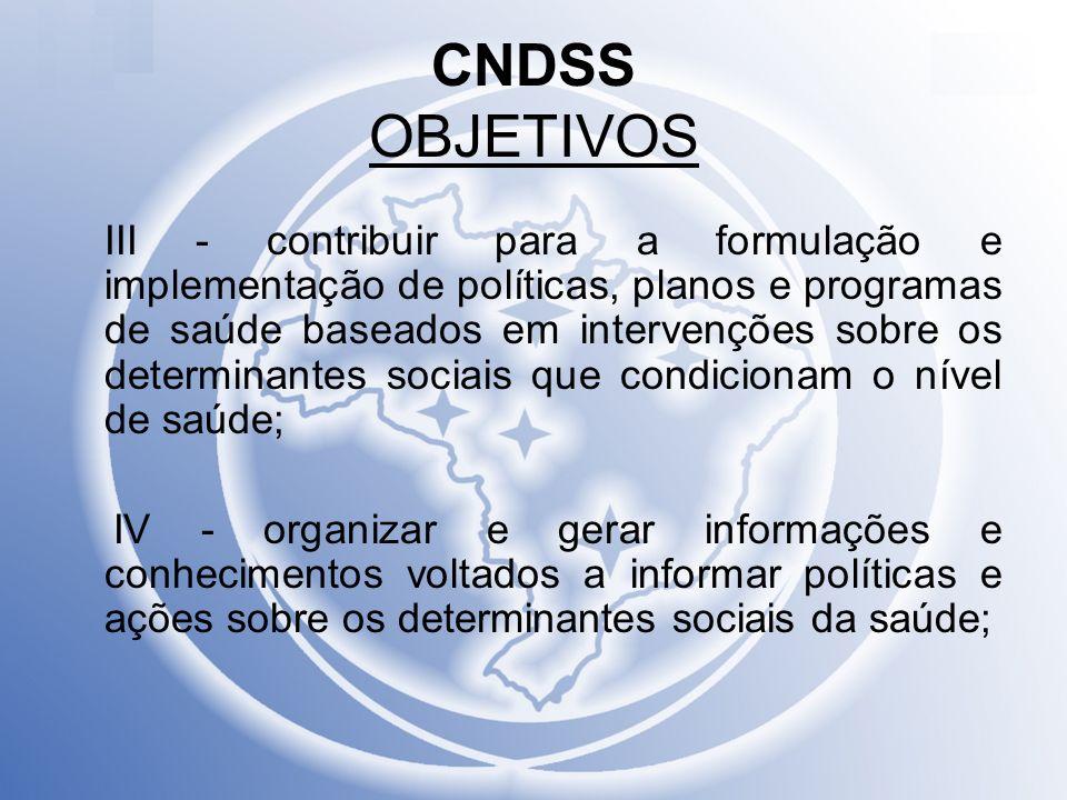 CNDSS OBJETIVOS III - contribuir para a formulação e implementação de políticas, planos e programas de saúde baseados em intervenções sobre os determi