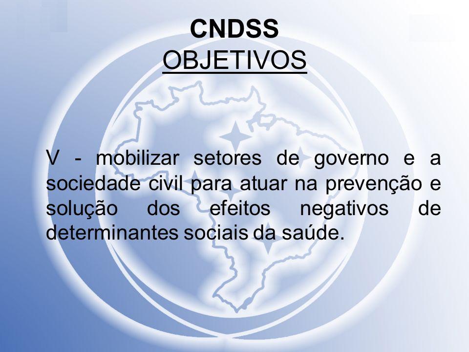 CNDSS OBJETIVOS V - mobilizar setores de governo e a sociedade civil para atuar na prevenção e solução dos efeitos negativos de determinantes sociais
