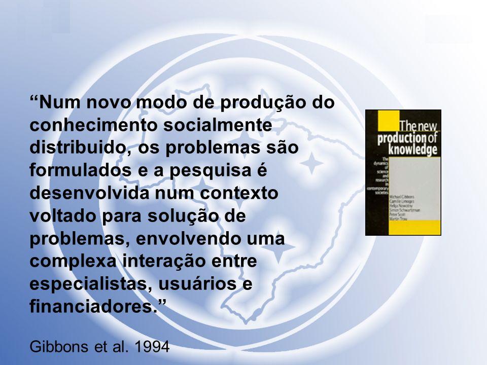 Num novo modo de produção do conhecimento socialmente distribuido, os problemas são formulados e a pesquisa é desenvolvida num contexto voltado para s