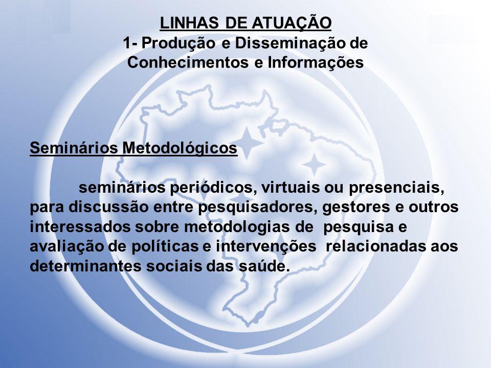 LINHAS DE ATUAÇÃO 1- Produção e Disseminação de Conhecimentos e Informações Seminários Metodológicos seminários periódicos, virtuais ou presenciais, p