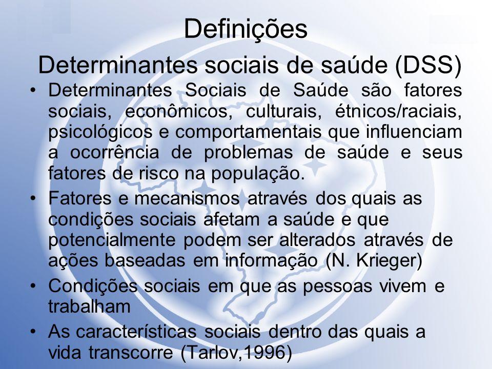 Definições Determinantes sociais de saúde (DSS) Determinantes Sociais de Saúde são fatores sociais, econômicos, culturais, étnicos/raciais, psicológic