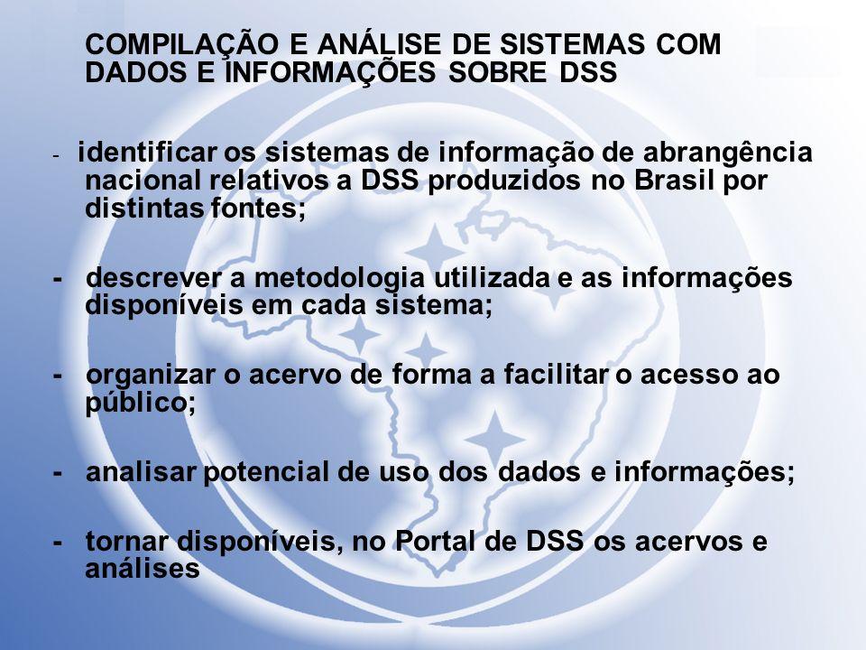 COMPILAÇÃO E ANÁLISE DE SISTEMAS COM DADOS E INFORMAÇÕES SOBRE DSS - identificar os sistemas de informação de abrangência nacional relativos a DSS pro